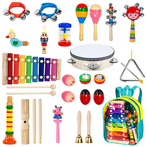 Toddler Musical Instruments with Xylophone,Ailuki 24pcs 17 Kinds of Wooden Percussion Instruments for Kids Preschool Education,Early Learning Musical Toys Set for Boys and Girls with Storage Backpack