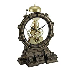 Metal & Resin Table Clocks Time's Gate Metallized Steampunk Generator Desktop Striking Clock 6 X 8.5 X 4 Inches Bronze