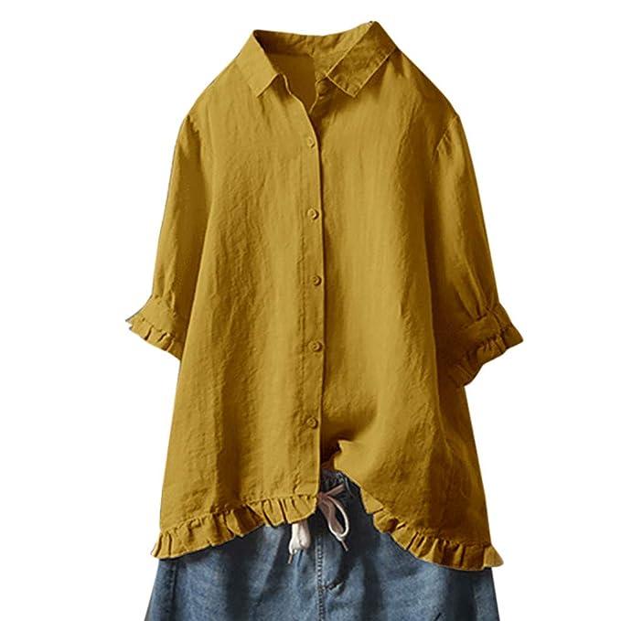 Damen Blusentop Bluse Lose Kurzarm Baggy Freizeit Top Oberteil T-Shirt Tshirt