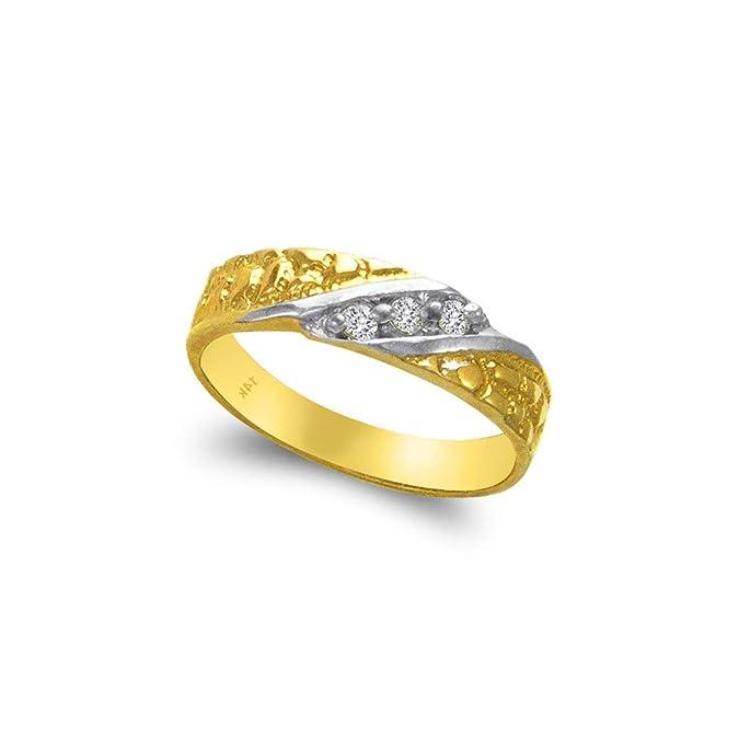 Amazon.com: TOUSIATTAR - Juego de anillos trio de oro de 14 ...