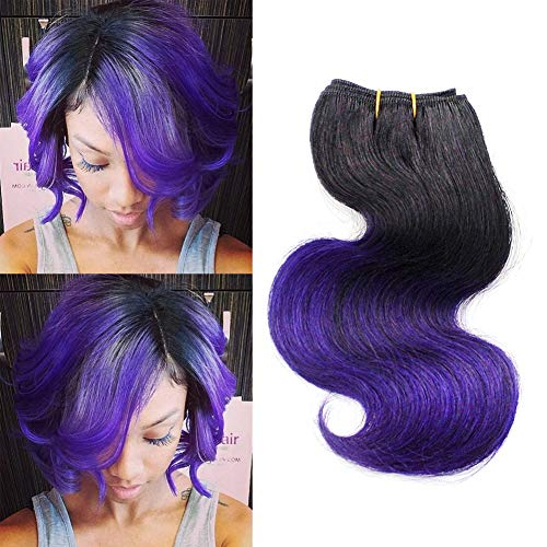 Ombre Purple Human Hair Bundles Wet Curly Bob Wave 8 Inch Brazilian Two Tone 3 Bundles T1B/Purple Loose Deep Wave Sew in Hair (8 inch body wave)