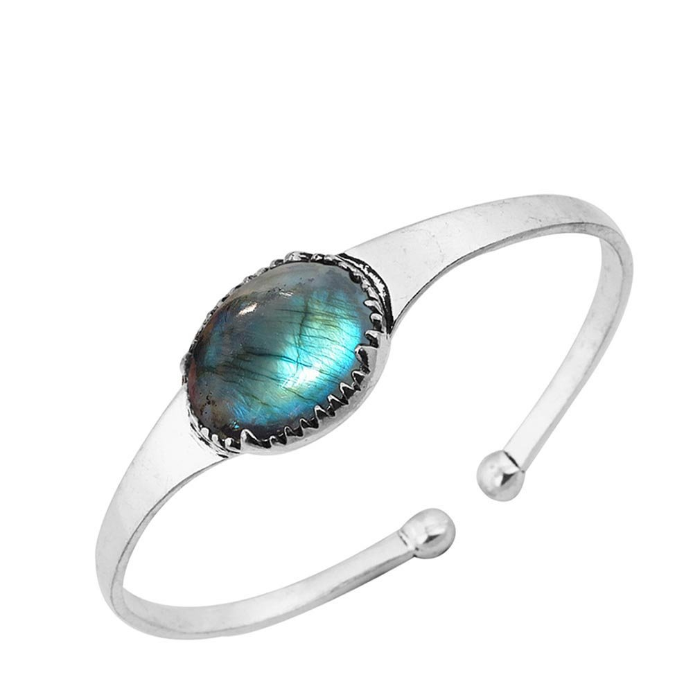Sterling Silver Jewelry 14.50ct, Genuine Labradorite & 925 Silver Plated Bangle