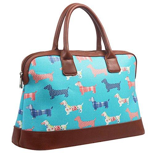 Dog Travel Oilcloth Ladies Weekend Turquoise Holdall Bag Handbag Shoulder Sauasage Womens TFtPwqH1