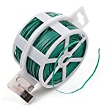 SCStyle 328 Feet (100m) Green Multi-Function Sturdy Garden Plant Twist Tie with Cutter/ Cable Tie/Zip Tie/ Coated Wire (1) (1 roll green)
