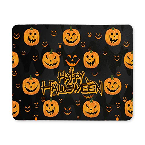 InterestPrint Halloween Decor Funny Abstract Pumpkin Scary Face Rectangle Non-Slip Rubber Laptop Mousepad Mouse Pads/Mouse Mats Case Cover with Designs for Office Home Woman Man Employee Boss Work