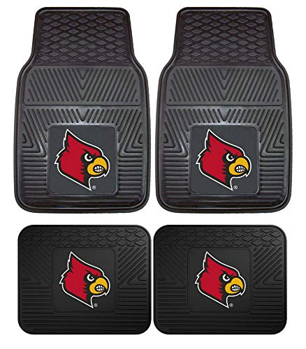 Officially Licensed NCAA Set of Universal Fit Front and Rear Rubber Automotive Floor Mats - Louisville Cardinals (Car Cardinals Louisville)