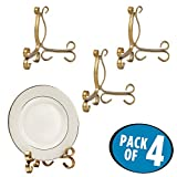 mDesign Easel Holders for Cookbooks, China Plates, Diplomas, Photos - Pack of 4, Medium, Aged Brass