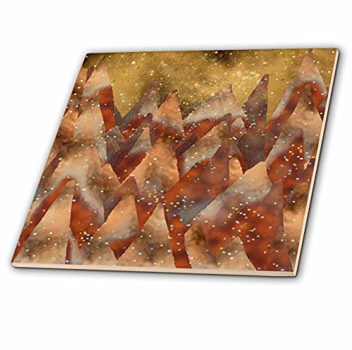 - 3dRose Uta Naumann Faux Glitter Pattern - Merry Christmas-Cool Trendy Copper Glitter Winter Forest and Mountains - 8 Inch Glass Tile (ct_269178_7)