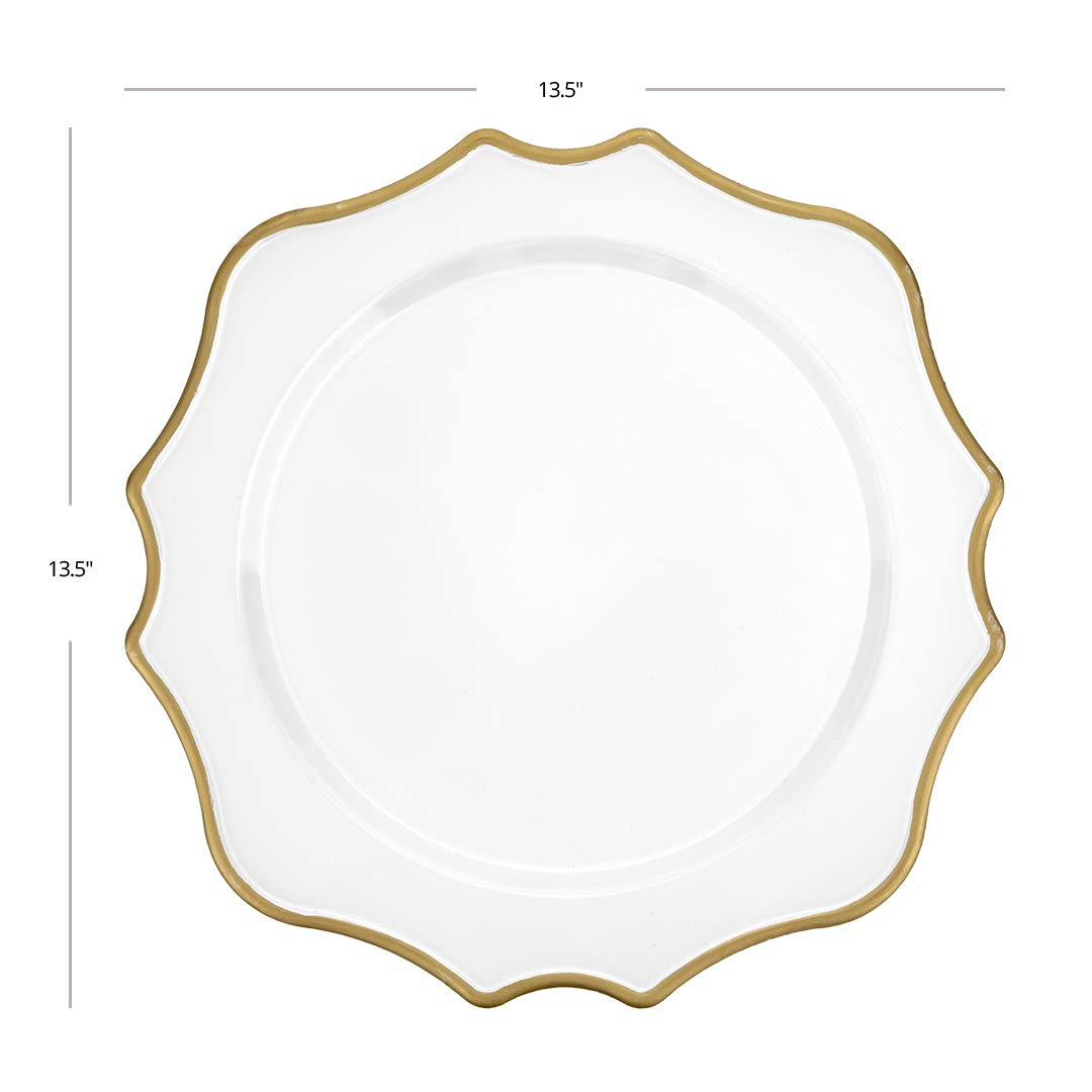 Koyal Wholesale 13.5 White and Gold French Scroll Charger Plates Wedding Tablescape Tabletop Home Decor Bulk Set of 4 Scalloped Acrylic Plastic Charger Plates for Table Setting Events Holidays