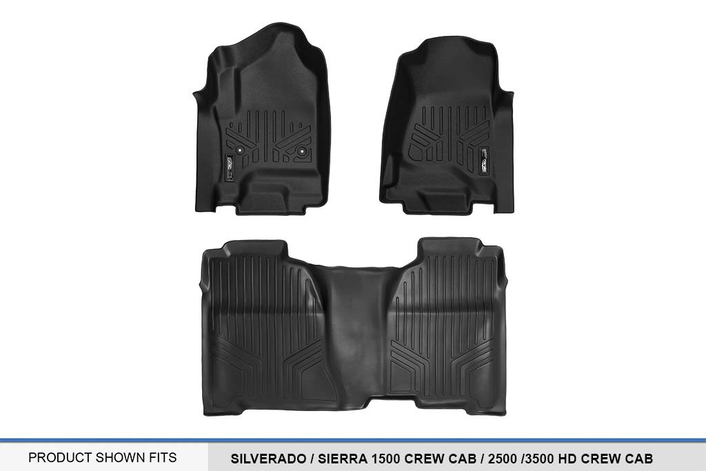 2015-2018 2500//3500 HD Crew Cab MAXLINER MAXFLOORMAT SMARTCOVERAGE Premium Floor Mats 2 Row Set Black for 2014-2018 Silverado//Sierra 1500 Crew Cab