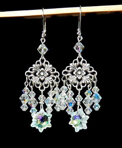 Swarovski Edelweiss Snowflake Christmas Earrings, Crystal AB (Ab Snowflake Pendant)