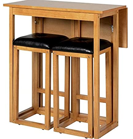 Wooden Folding Breakfast Kitchen Bar Table With 2 Padded Seats Stools  Chairs. Modern Home Oak