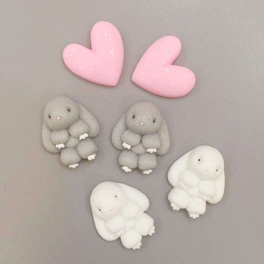 6pcs Bunny Cute Animal Food Resin Magnet Refrigerator Ins Creative Cute Cartoon Magnets for Refrigerators Air Conditioners Washing Machines Magnetic Board and Iron Office Files