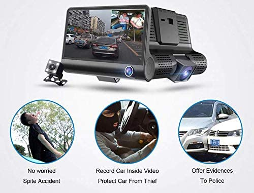 3-Way Front, Rear and Inside 1080P Wide Angle Dash Camera with G-Sensor and Cycle Recording