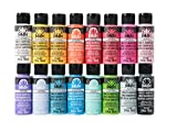 glass acrylic paint - FolkArt PROMOMSB16 Multi Surface Acrylic Paint Set 16 Piece Bright Colors