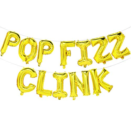 Pop Fizz Clink Balloon Banner | New Year, Wedding, Bridal Shower, Bachelorette, Engagement Party Decorations