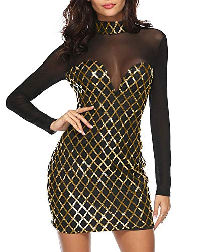 Ancoset Women High Neck Long Sleeve Sequin Sparking Shinning Mesh Patchwork Bodycon Sheath Party Dress Mesh ()