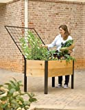 Elevated Cedar Planter Box and Space-Maker Pivoting Trellis Set, 2 x 4
