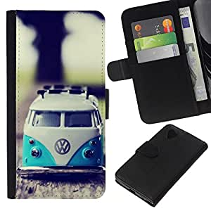 NEECELL GIFT forCITY // Billetera de cuero Caso Cubierta de protección Carcasa / Leather Wallet Case for LG Nexus 5 D820 D821 // VW Hippy Van