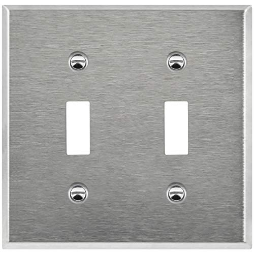 ENERLITES Toggle Light Switch Metal Wall Plate, Corrosive Resistant, Size 2-Gang 4.50 x 4.57, 7712-10PCS, 430 Stainless Steel (10 Pack)