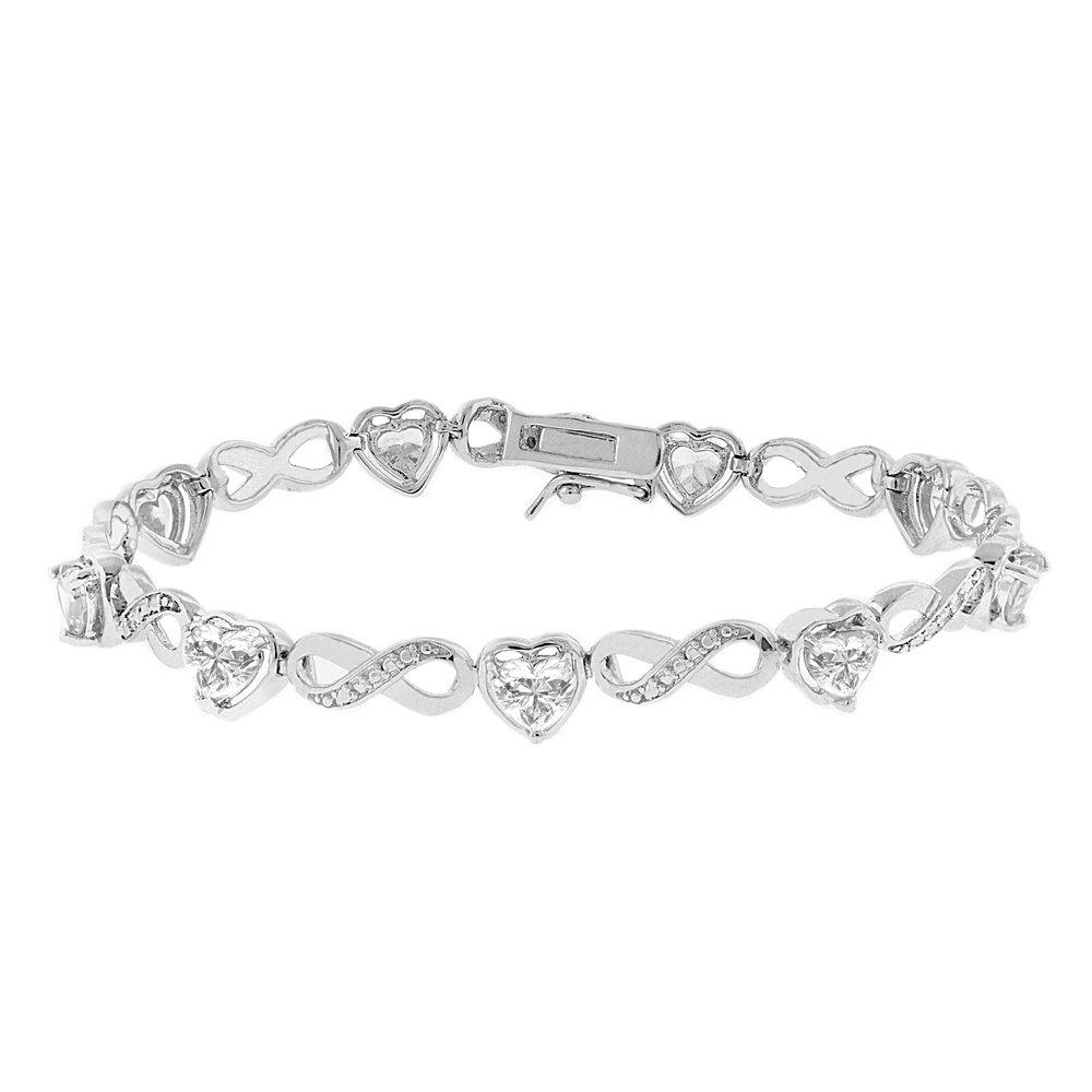Cate & Chloe Amanda 18k Infinity Heart Tennis Bracelet, White Gold Plated Bangle Bracelet with Unique Infinity Chain Design & Heart CZ Stones, Sparkling Charm Bracelets for Women, MSRP - $170 (Silver)