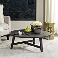 Safavieh FOX4257B Home Collection Malone Dark Retro Mid-Century Dark Grey Wood Coffee Table