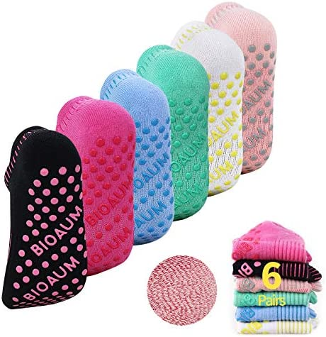 BIOAUM Yoga Socks for Women - 6 Pairs Cotton Cushion Non Slip Grip Slipper Pilates Hospital Socks