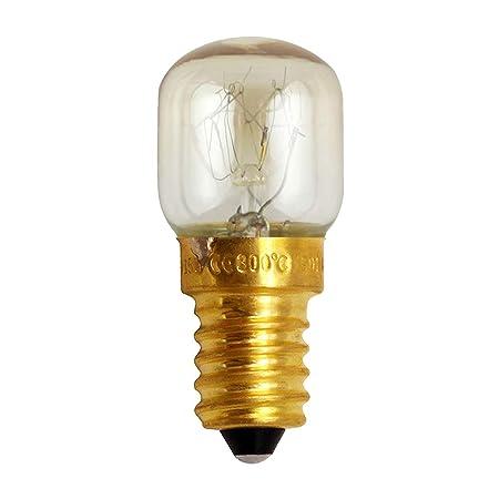Uonlytech E14 25W Bombilla de Horno de microondas Bombilla de Tornillo pequeño Bombilla de lámpara de latón de 300 Grados Celsius Grado Bombilla de ...