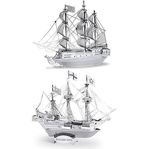 3d ship models amazon metal earth 3d laser cut steel models black pearl ship and golden hind ship set of 2 maxwellsz