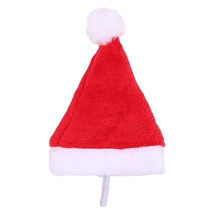 UEB Cappello di Babbo Natale per Gatto e Cane Domestico Cappello Natale in  Peluche Cappellino Costume 5bbf82b91071