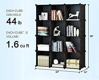 KOUSI Portable Storage Shelf Cube Shelving Bookcase Bookshelf Cubby Organizing Closet Toy Organizer Cabinet Black