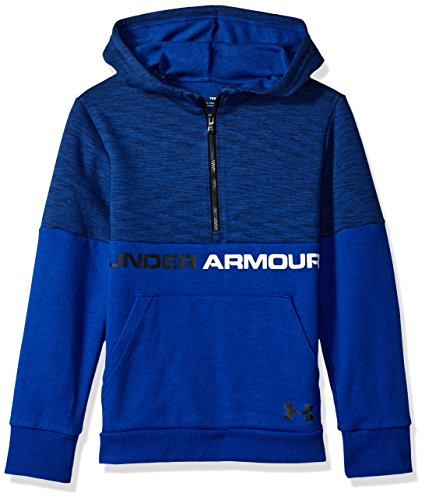 Under Armour Boys Double Knit 1/2 Zip Hoodie, Royal (400)/Black, Youth Large