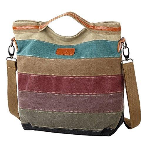 Shoulder Fashion Handbag Bag Multi Hobos Women's Striped Style Color D Canvas Tote WYUOdzqwA