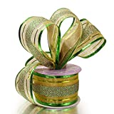 """Green Striped Wired Christmas Ribbon - 2 1/2"""" x 10"""