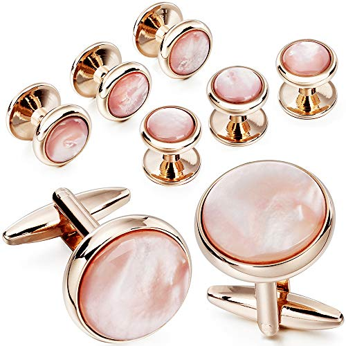 (Mens Mother of Pearl Cufflinks and Dress Studs Set for Wedding Party (pink))