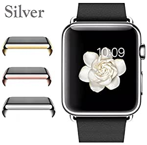 Josi Minea Apple Watch [38mm] Protective Snap-On Case with Built-in Clear Glass Screen Protector - Anti-Scratch & Shockproof Full Cover Shield Guard for Apple Watch Series 1 - 38mm [ Silver ]