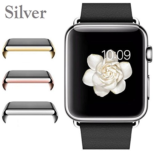 Josi Minea Apple Watch [42mm] Protective Snap-On Case with Built-in Clear Screen Protector - Premium Anti-Scratch & Shockproof Shield Guard Full Cover for Apple Watch - 42mm [ Silver ]
