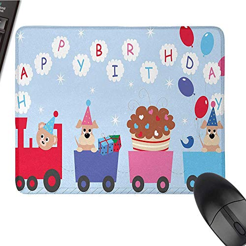 Kids Birthdaylarge Mouse padCelebration Baby Bear Dog in Train Balloons Clouds on Light Blue BackdropComfortable Mousepad 9.8