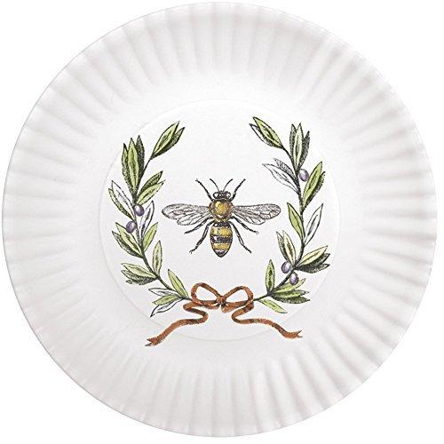 Mary Lake-Thompson Bee with Olive Wreath 7.5'' Melamine Plates, Set of 4