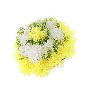 D DOLITY Beautiful Artificial Silk Carnation Chrysanthemum Cemetery Grave Patriotic Memorial Flower - Yellow 95