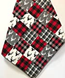 Handmade Buffalo Plaid Baby Boy Quilt Patchwork Woodland Red Black