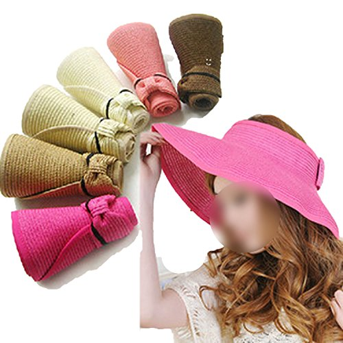 Heart .Attack Ladies Bike top Hat Foldable Sunhat Elegant Bow Straw Hat,Rose red and White,M
