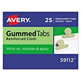 Avery 59112 Gummed Index Tabs, 1/2 in, Gray (Pack of 25)
