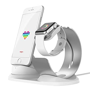iitrust Soporte para iPhone y iWatch, 2 en 1 Soporte de Aleación de Aluminio para Apple Watch,Soporte Movil Cargador para iPhone 5S / 5 / SE/ 6/ 6s /6 ...