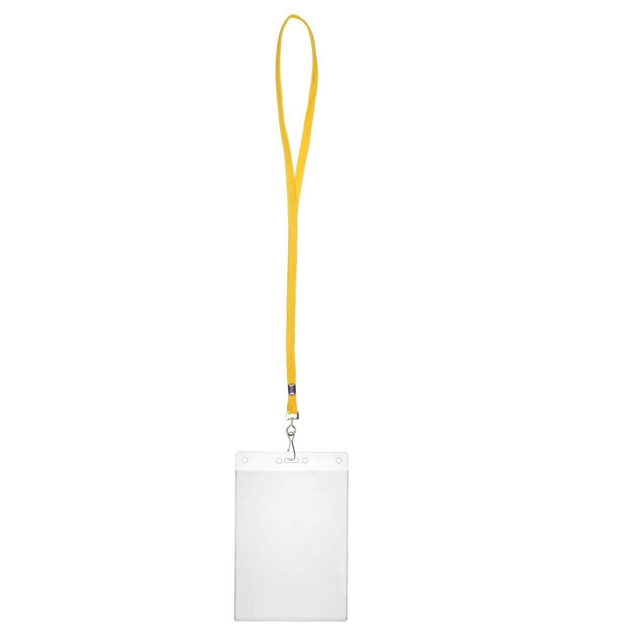 Karteo/® Porta badge Porta cartellino involucro protettivo in polivinile DIN A6 10mm Cordoncino Lanyard bianco con moschettone per i possessori di carta 105 x 148 mm verticale
