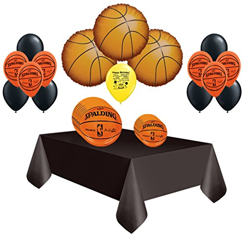 Spalding Basketball Deluxe Pack of Party Plates and Balloons Set for 18 (Lakers Party Decorations)