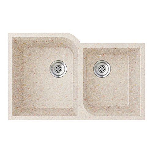 (Swanstone QU03322RC.076 Granite Undermount Double-Bowl Kitchen Sink, 33-in L X 22-in H X 9-in H, Granito)