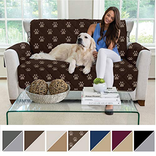 (MIGHTY MONKEY Reversible Loveseat Slipcover, Seat Width to 54 Inch Furniture Protector, 2 Inch Elastic Strap, Washable Slip Cover for Loveseats, Protects from Dogs, Love Seat: Paw: Chocolate Taupe)