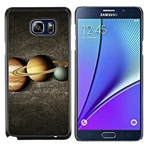 Queen Pattern - FOR Samsung Note 5 N9200 N920 - saturn rings yellow red blue planet lineup space - Cubierta del caso de impacto con el patr???¡¯???€????€??&