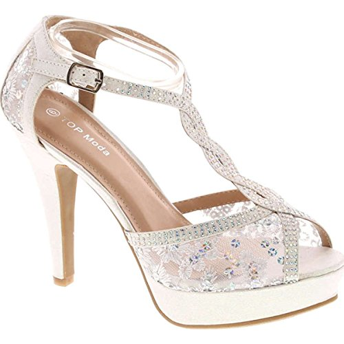 TOP Moda Womens Hy5 Formal Evening Party Lace Ankle T-Strap Peep Toe Stiletto High Heel Pumps,White Glitter,9